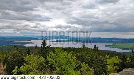 Czech Biggest Artificial Dam Called Lipno Located In South Bohemia With Forests Around The Lake And