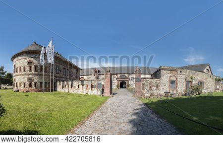 Mainz, Germany - June 1, 2013: View To The Historic Castle Called Reduit In  Mainz At River Rhine.