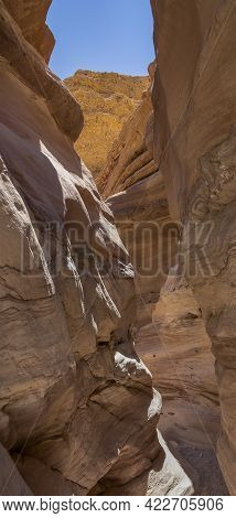 Various Rock Formations In The Red Canyon, Near Eilat, Israel, On A Clear, Sunny Day.
