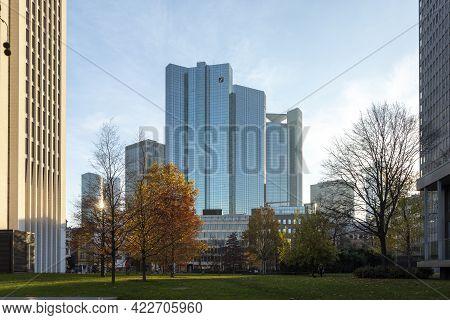 Frankfurt, Germany - November 21,2020: Facade Of Headquarter Of German Bank With Mirroring Skyscrape