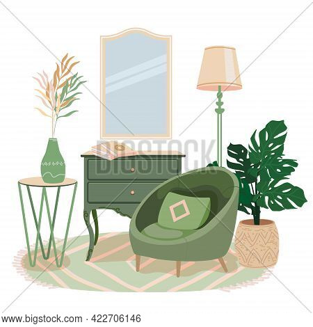 Cozy Room Interior With Modern Green Armchair. Hygge Place For Rest And Relaxation. Cair, Modern Tab