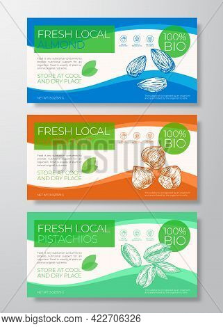 Fresh Local Nuts Label Templates Set. Abstract Vector Packaging Horizontal Design Layouts Collection