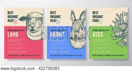 Animal Portrait Organic Meat And Vegetables Vector Packaging Design Or Label Templates Set. Modern T