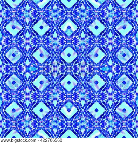 Geo Art Ornament. Blue, Cyan, Indigo Fabric. Moroccan, Tunisian Motif. Turkish, Arab Seamless Patter