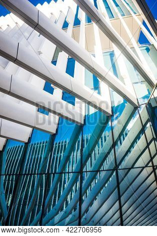 Lisbon, Portugal - March 25, 2017: Details Of Modern Architecture, The Edp Headquarters Building Of