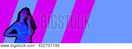 Contemporary Art Collage, Modern Design. Retro Style. Young Girl With Phone On Colored Geometric Bac