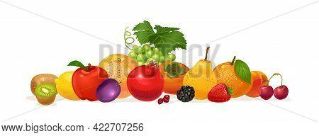 Composition Of Fruits. Pomegranate, Orange, Plum, Kiwi, Strawberry, Pear, Sweet Cherry, Persimmon, L