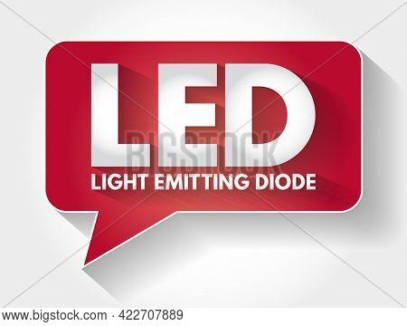 Led - Light Emitting Diode Acronym Message Bubble, Technology Concept Background