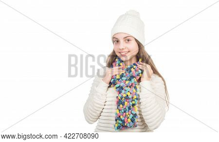 Happy Kid In Knitted Hat And Scarf Warm Clothes Isolated On White Copy Space, Knitwear