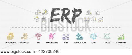 Erp - Enterprise Resource Planning Vector Structure/ Module/ Workflow Icon Construction Concept On C