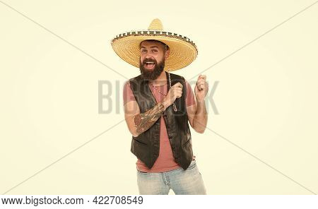 Mexican Melody Drives Him. Man Bearded Cheerful Guy Wear Sombrero Mexican Hat. Mexican Party Concept