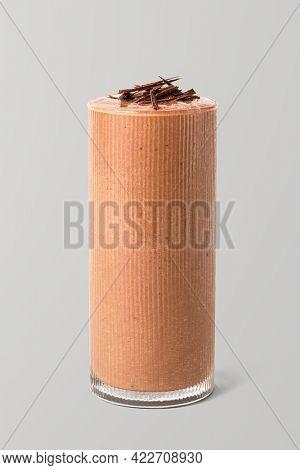 Shaved dark chocolate milkshake on background mockup