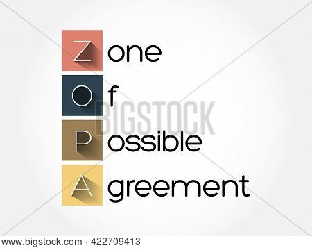 Zopa - Zone Of Possible Agreement Acronym, Business Concept Background