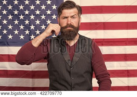 Barbershop. Work And Travel In Usa. He Is True American. Patriotic Spirit. Man Celebrate 4th Of July