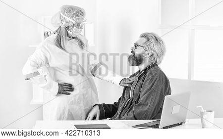 Safety Measures For Medical Personnel. Detection Of Coronavirus. Coronavirus Symptoms. Sick Guy At H