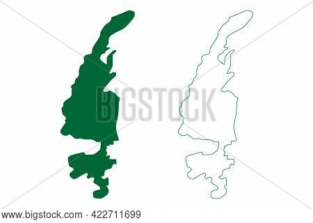 Imphal West District (manipur State, Republic Of India) Map Vector Illustration, Scribble Sketch Imp