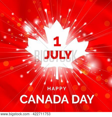 July 1, Canada Day. Great Canadian National Day. Greeting Design With The Patriotic Colors Of Canada