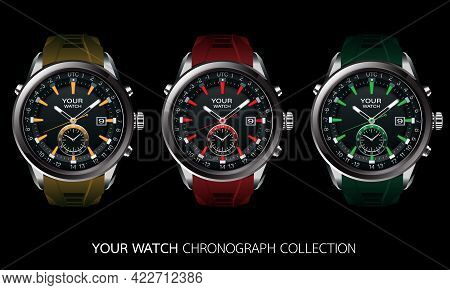 Realistic Vector Collection Of Clock Watch Chronograph Grey Steel Black Dashboard Face White Number