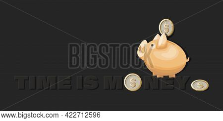 Piggy Bank.time. Money. Dollar Coins. Gold Coins With Dollar Sign On Dark Background.