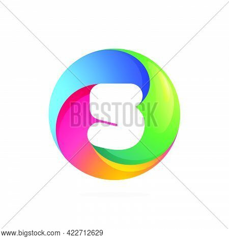 Number Five Logo Inside Swirling Loop Circle. Negative Space Style Icon. Colorful Gradient Emblem Fo