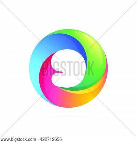 Number Nine Logo Inside Swirling Loop Circle. Negative Space Style Icon. Colorful Gradient Emblem Fo