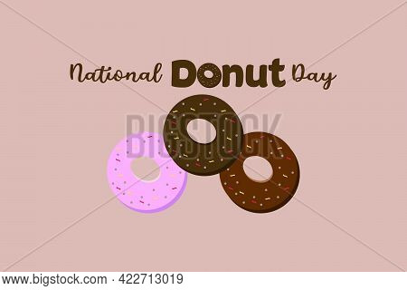 National Donut Day Typography Vector Background. Donut Day Vector Template For Typography Poster, Ba