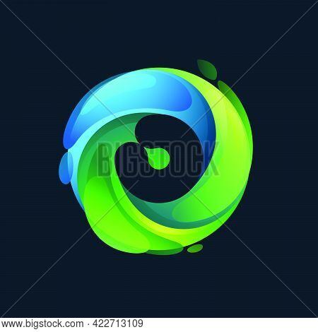 Eco-friendly Number Zero Logo Inside A Swirl Green Circle. Negative Space Style Icon. Vector Font Fo