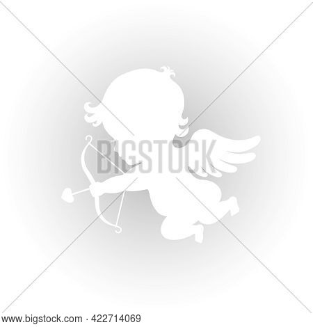 Cupid Graphic Icon. Amur With Bow And Arrow Sign Isolated On Grey Background. Love Symbol. Vector Il