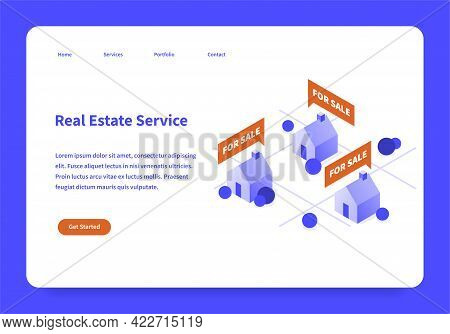 Real Estate Service Landing Page Concept Vector Flat Illustration Template Isometric. User Interface