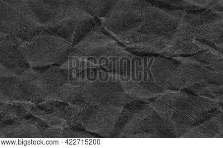 Closeup Crumpled Dark Grey Or Black Paper Texture Background.dark ,black Paper Sheet Board With Spac