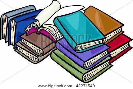 Heap Of Books Cartoon Illustration