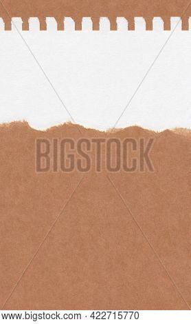 Closeup Torn Brown Paper On Grunge White Paper Texture Background. Rip Paper Note ,brown Paper Sheet