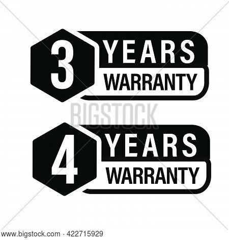 3 Year Warranty, 4 Year Warranty Icon Set, Promotional Vector Icon, Black In Color