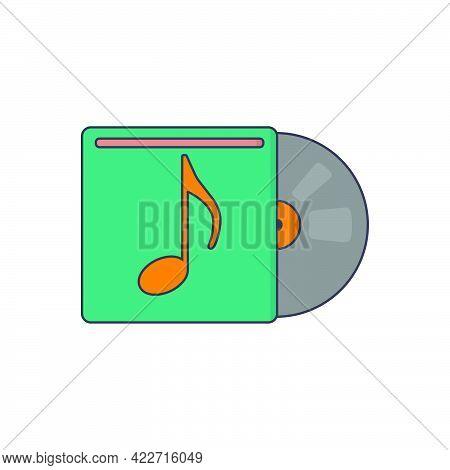 Flat Icon Vinyl Record. Vector Illustration. Icon Design.
