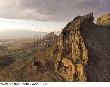 Fantastic Dramatic Aerial View Of The Ruins Of The Dogubayazit Castle, Built On The Mountain Near Es