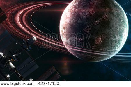Planet In Deep Space In Light Of Blue And Red Star. Space Station Blurred In Motion. Science Fiction