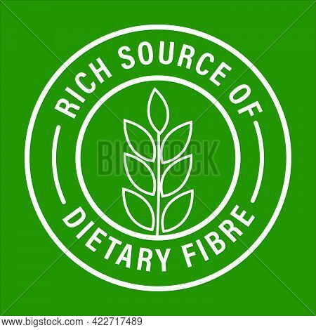 'rich Source Of Dietary Fiber' Vector Icon Isolated On Green Background