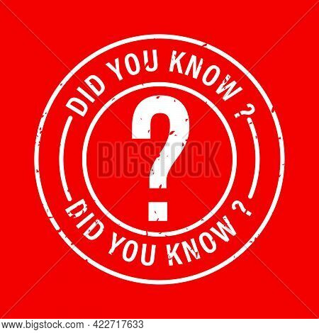 Did You Know? Vector Icon Isolated On Red Background
