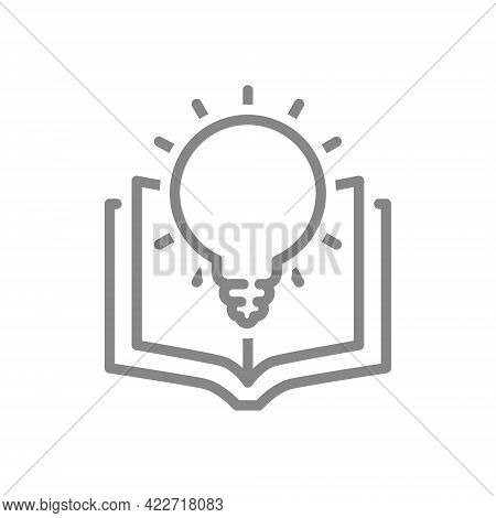 Open Book With Light Bulb Line Icon. Encyclopedia, Smart Thinking, Brainstorm Symbol