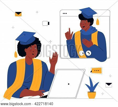 A Virtual Graduation Ceremony. Online Education. Class Of 2021. African American Graduates Students