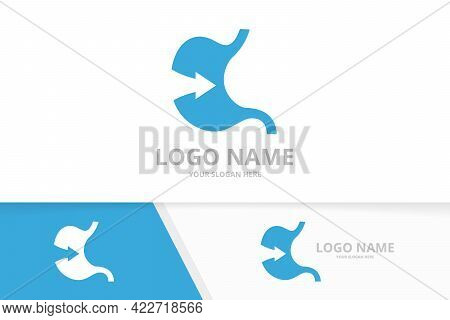 Vector Stomach And Arrow Logo Combination. Gastrointestinal Tract And Growth Logotype Design Templat