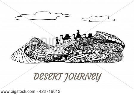 Desert Journey, Camels And Cameleers Walking On Sand Dune Landscape. Ornate Elegant Zentangle Concep