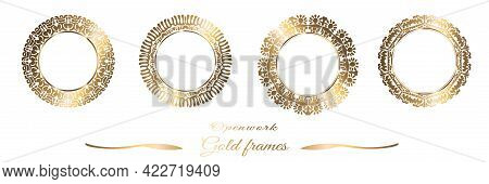 Gold Frame Round. Openwork Ornament. Geometric Set With Gold Pattern. Vector. White Background.
