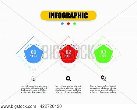 Pentagon, Square, Circle Infographic Design Collection Of Vector Templates With 3 Options. Creative