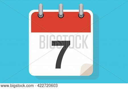 Day Seven. Simple Calendar With Date 7. Flat Calendar Icon Vector Illustration. Calendar Icon Flat D