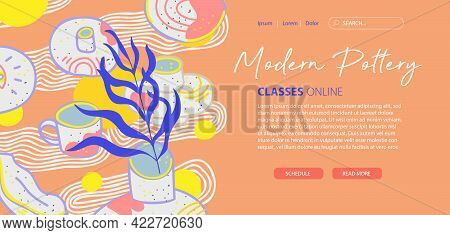 Modern Pottery Banner, Website Template, Web Page, Landing Page. Design For Website And Mobile Site.