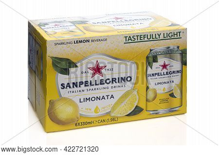 Swindon, Uk - June 4, 2021: Box Of San Pellegrino Limonata Cans On A White Background
