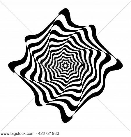 Op Art Design Element. Illusion Of Twisting Rotation Movement. Abstract Wavy Lines Pattern. Vector I