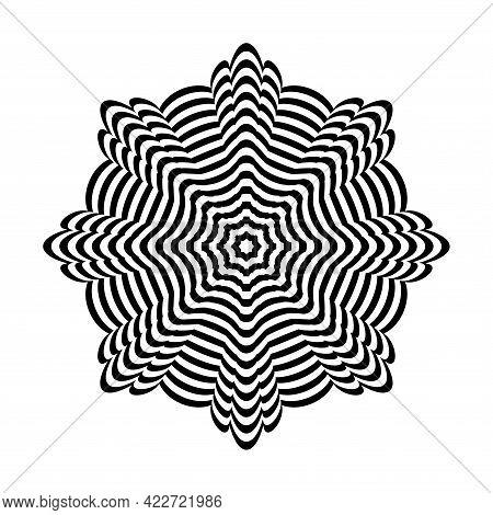 Op Art Design Element. Striped Lines Circle Pattern. Vector Illustration.