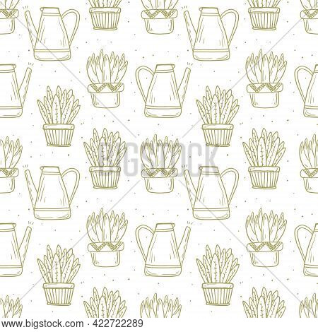 Seamless Pattern House Plants In Doodle Style. Funny Succulents With Large Leaves In Clay And Cerami
